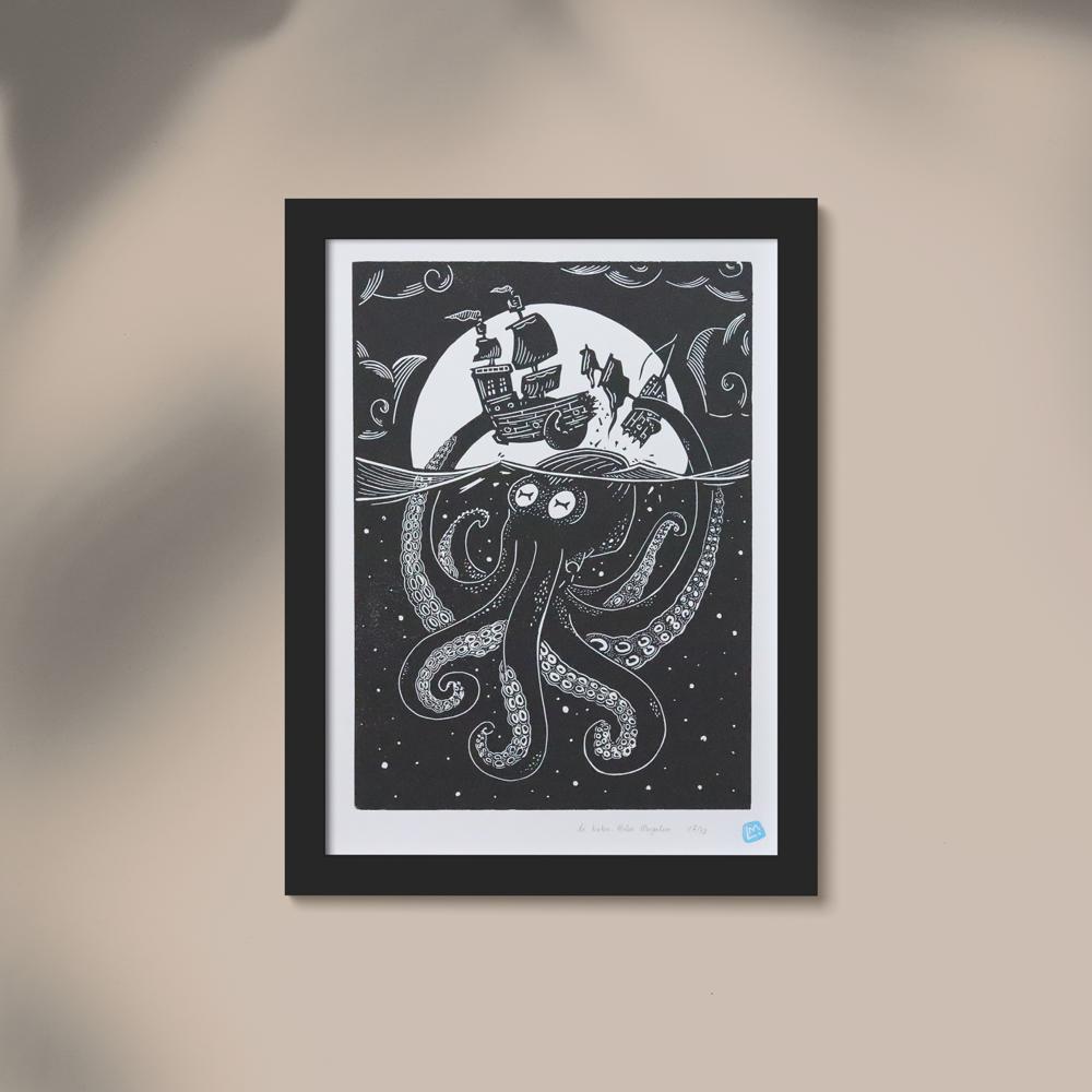 linocut kraken