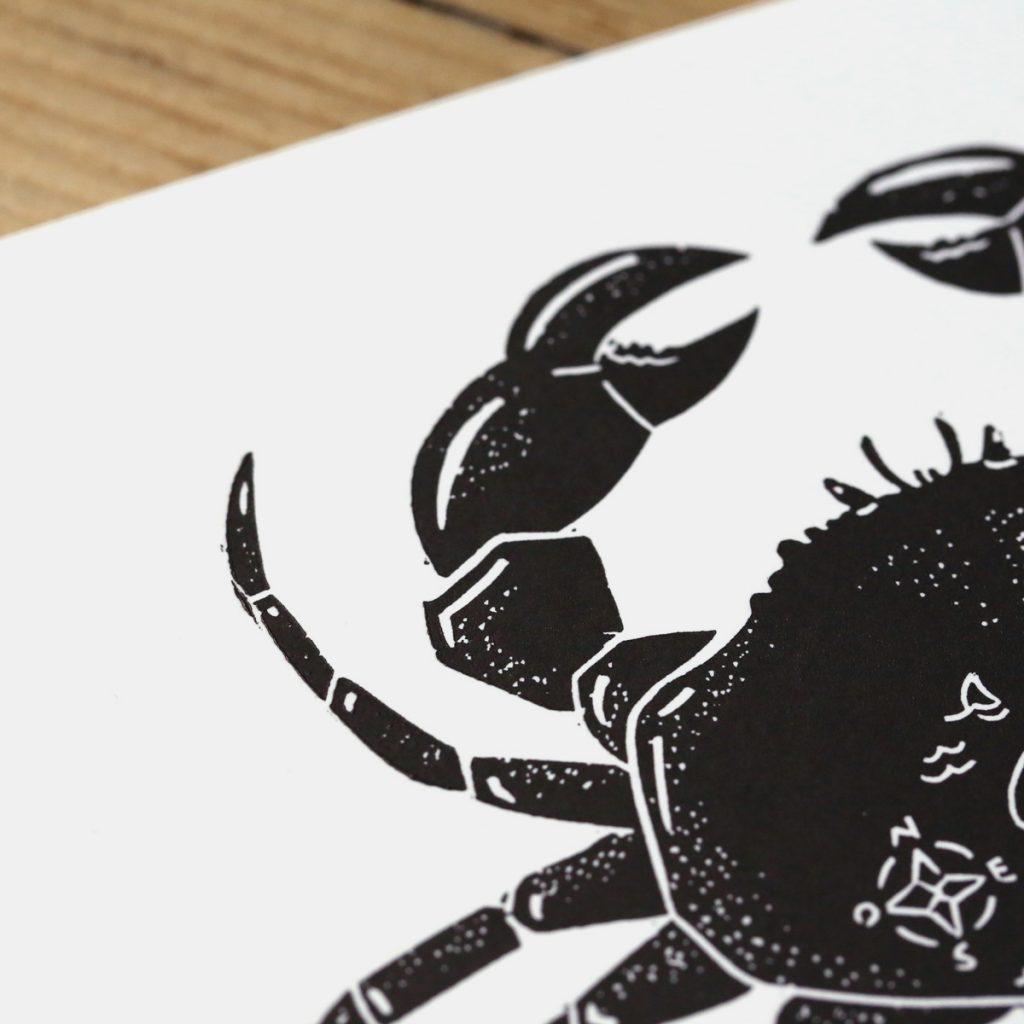 crabe linogravure