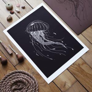 meduse linogravure